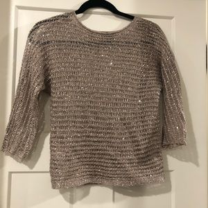 Sparkle sweater -Ann Taylor Petite Gray net sequin